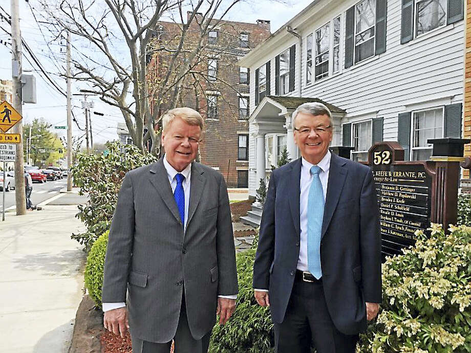 The name of John J. Keefe Sr., of County Kerry, Ireland, father of Hugh F. Keefe, left, and John J. Keefe Jr., New Haven lawyers, will be among 10 to be read out Sunday on the New Haven Green. Photo: Journal Register Co.
