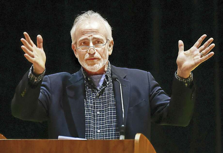 "Author Marc Wortman talks about his book, ""1941: Fighting the Shadow War,"" at the Jewish Community Center of Greater New Haven in Woodbridge. Photo: Catherine Avalone — New Haven Register    / New Haven RegisterThe Middletown Press"