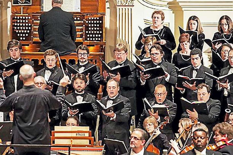 The Worcester Chorus, led by Chris Shephard, left. Photo: Photo Courtesy Of Worcester Chorus