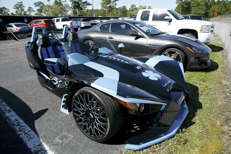 A Polaris Slingshot belonging to Yoenis Cespedes sits in the team parking lot. Photo: Jeff Roberson — The Associated Press   / AP