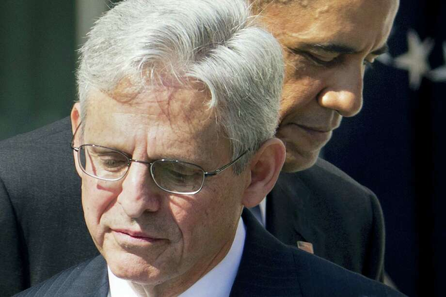 Federal appeals court Judge Merrick Garland, with President Barack Obama as he is introduced as Obama's nominee for the Supreme Court during an announcement in the Rose Garden of the White House in Washington March 16. Photo: THE ASSOCIATED PRESS   / AP
