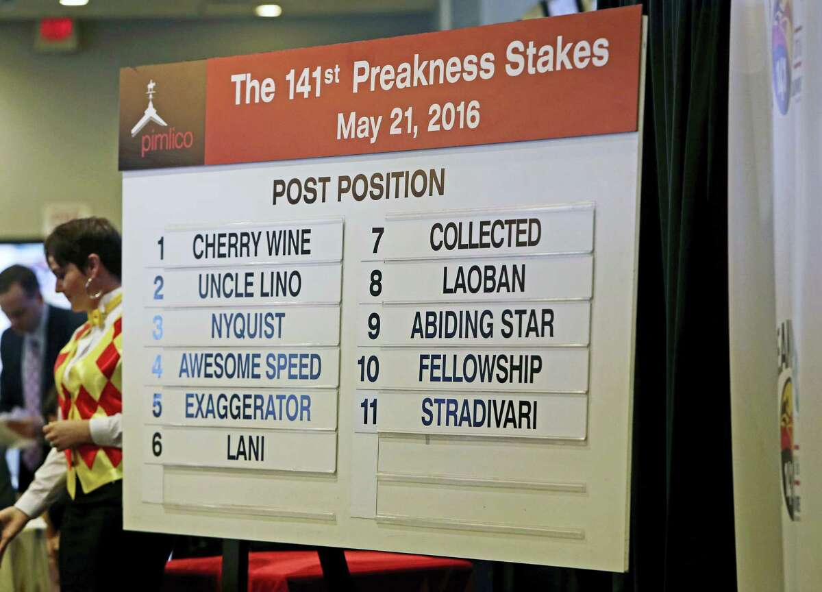 A board displays the post positions for Saturday's Preakness Stakes horse race at Pimlico Race Course in Baltimore on Wednesday. Kentucky Derby winner Nyquist drew the No. 3 spot.