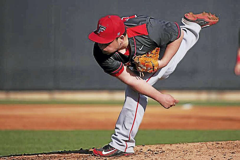 Wallingford, Xavier High product John Signore fires a pitch for Fairfield in a recent game. Photo: Courtesy Of Fairfield Athletics