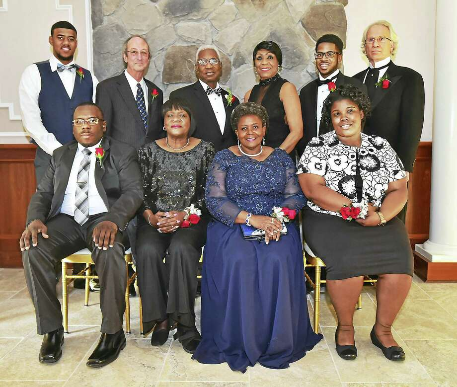 The Carroll E. Brown Scholarship & Community Awards Dinner sponsored by the West Haven Black Coalition, Inc. award recipients gathered Saturday at Fantasia in North Haven. Front row, left to right, Gary Moore, the WHBC Hall of Fame, Wanda Gibbs, the WHBC Hall of Fame, Linda Copney-Okeke, Community Service Award, Breahnna Thompson, the Chief Donald R. Scott Scholarship. Back row, left to right, Reginald Mayo III, WHBC Scholarship, UNH President Steven H. Kaplan, the President's Appreciation Award, Bishop Harold Golston, Sr., the Edwin R. Edmonds Humanitarian Award, Carroll E. Brown, Corey Moore, Carroll E. Brown Scholarship and John M. Gesmonde, the Special Civil Rights Award, Photo: CATHERINE AVALONE — NEW HAVEN REGISTER    / New Haven RegisterThe Middletown Press