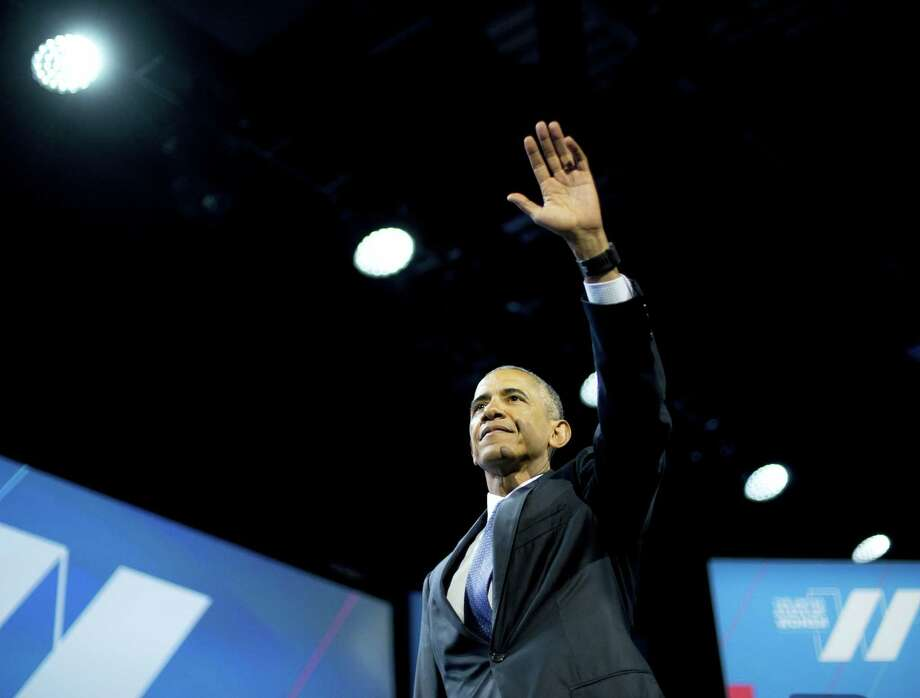 President Barack Obama waves after speaking at the White House Summit on the United State of Woman Tuesday in Washington. Photo: ASSOCIATED PRESS   / Copyright 2016 The Associated Press. All rights reserved. This material may not be published, broadcast, rewritten or redistribu