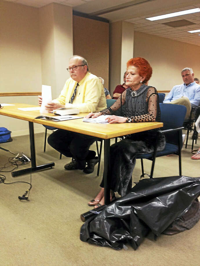 Attorney John Lambert, left, and Fereshteh Bekhrad address the City Plan Commission. Photo: Mary O'Leary — New Haven Register