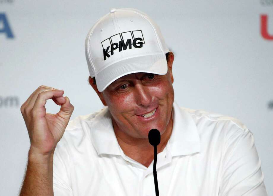 Phil Mickelson talks during a news conference for the U.S. Open championship at Oakmont Country Club Wednesday. Photo: Gene J. Puskar — The Associated Press   / AP
