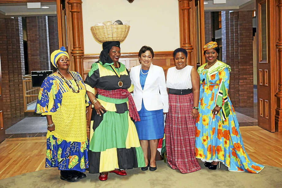 CONTRIBUTED PHOTO  New Haven Caribbean Month committee members, from left, Elaine Peters, Janice Hart, Mayor Toni N. Harp, Karaine Smith-Holness and Shenell Edmonds Photo: Journal Register Co.