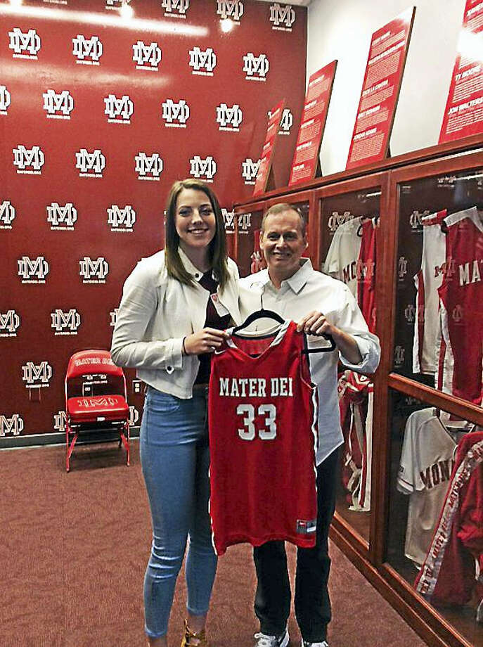 SubmittedKatie Lou Samuelson had her No. 33 retired at California powerhouse Mater Dei High School on Wednesday afternoon. Photo: Journal Register Co.