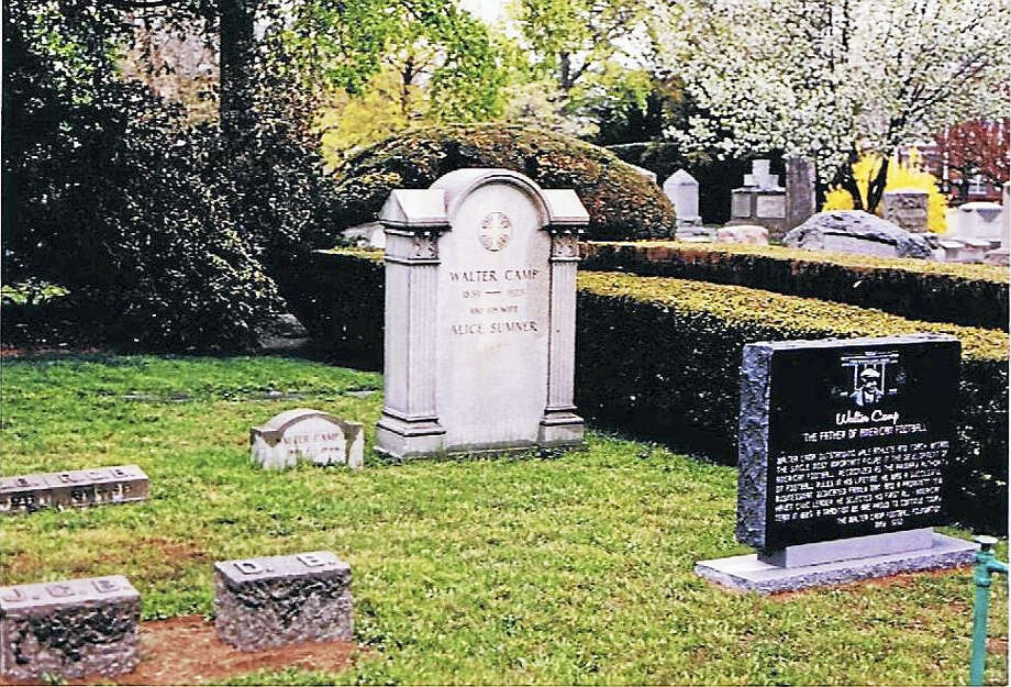 CONTRIBUTED PHOTOThe Walter Camp memorial stone at Grove Street Cemetery in New Haven. Photo: Journal Register Co.