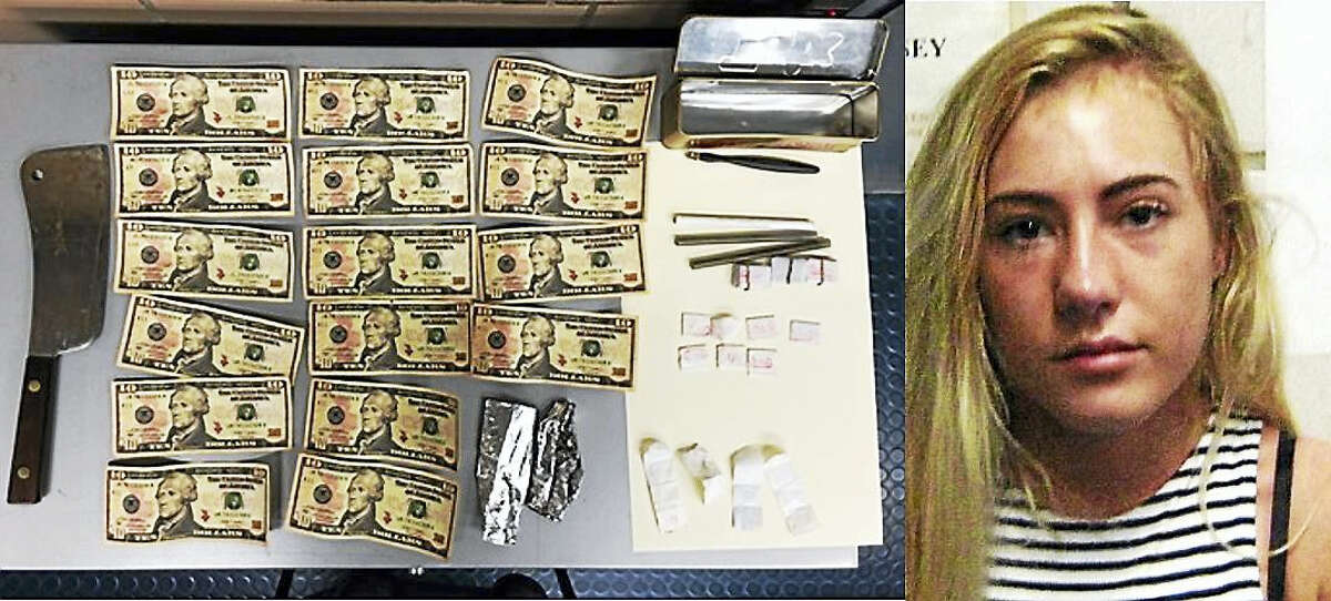 Willow Martin, right, was found with dozens of envelopes of heroin, several counterfeit $10 bills and a large knife while trying to cross the George Washington Bridge late Monday night, officials said.