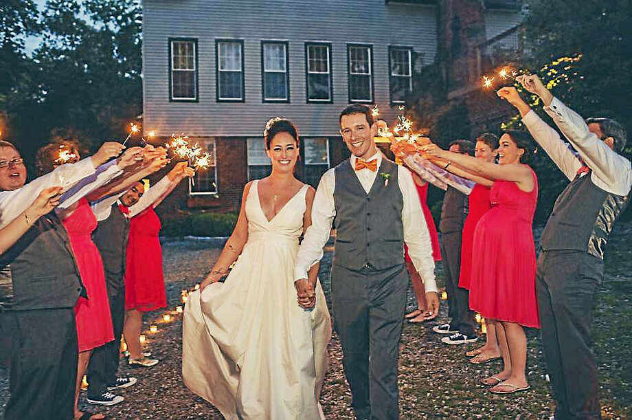 Sparklers for Laura and Jeremy Photo by Katie Slater Photography Photo: Journal Register Co.