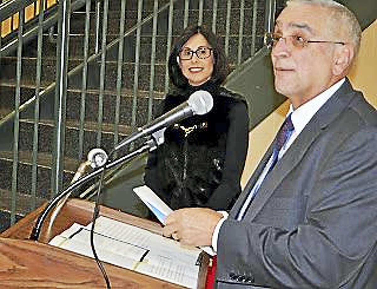 Superintendent of Schools Carol Merlone with Dominick Golia