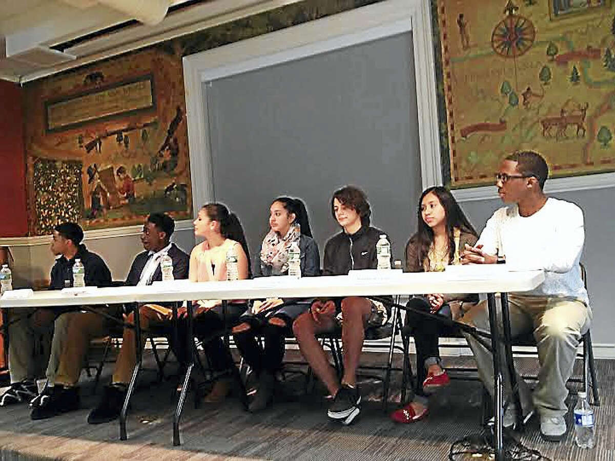The seven students running for a two-year term on the New Haven Board of Education are, from left, Jacob Spell, Dwayne Carson, Alondra Martinez-Lopez, Melady Morocho, Joseph Lampo, Yeimy Morales and Tyron Houston.