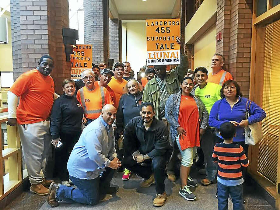 About 30 members of Local 455, the laborers union, came to the City Plan Commission meeting Wednesday to show support for Yale's demolition and replacement of the Gibbs Lab. Photo: Mary O'Leary — New Haven Register