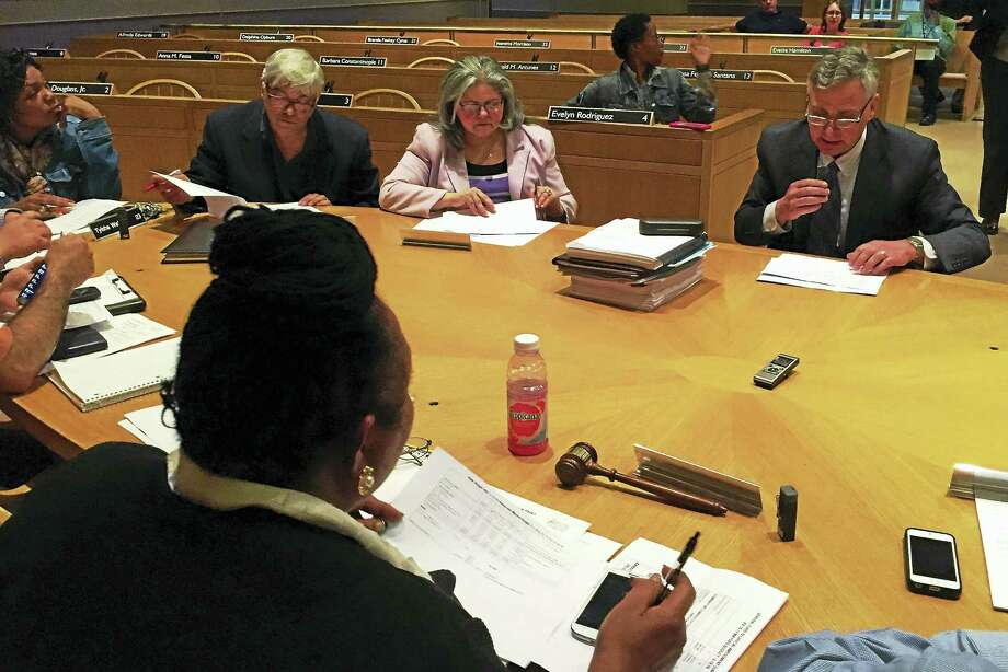 New Haven City Budget Director Joe Clerkin, far left, addresses the Board of Alders' Finance Committee during its meeting Wednesday at City Hall. Photo: Esteban L. Hernandez — New Haven Register