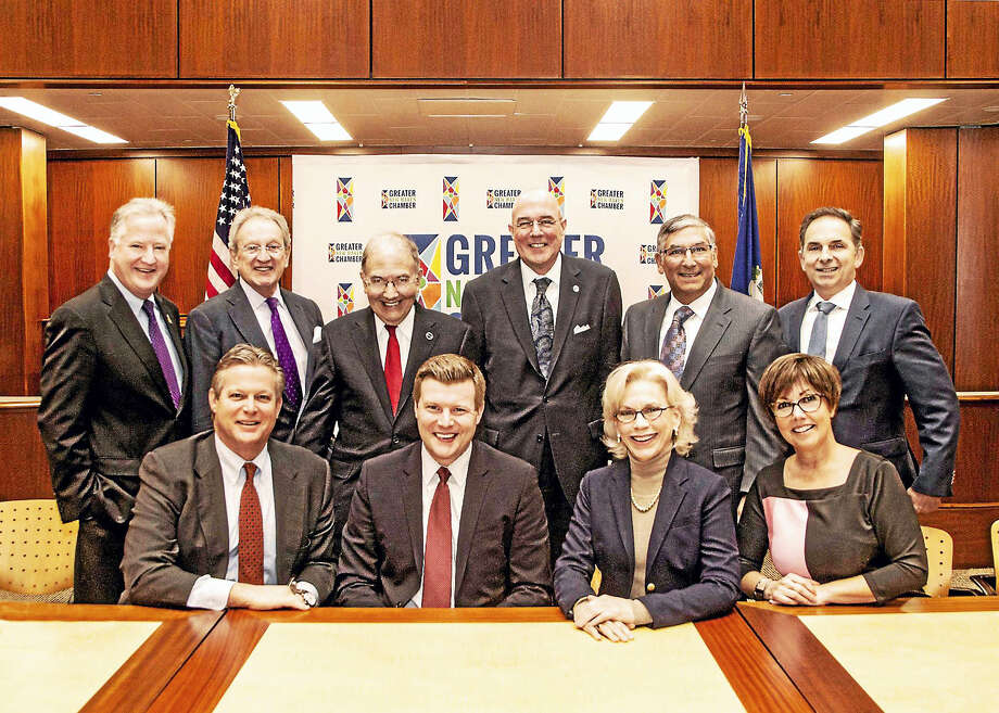 Front row, from left: state Sen. Ted Kennedy Jr., Rep. Sean Scanlon, Rep. Lonnie Reed, Rep. Pam Staneski. Back row, from left: Rep. Brendan Sharkey, Chamber of Commcerce President Tony Rescigno, Sen. Martin Looney, Chamber Board Chairman Larry Bingaman, Sen. Len Fasano, Rep. Dave Yaccarino. Photo: CONTRIBUTED PHOTO — S.M. Cooper