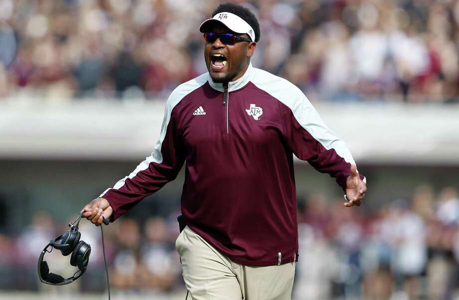 Coach Kevin Sumlin of the Texas A&M Aggies reacts to a call during the first half against the Mississippi State Bulldogs at Davis Wade Stadium on Nov. 5, 2016 in Starkville. Photo: Butch Dill /Getty Images / Internal