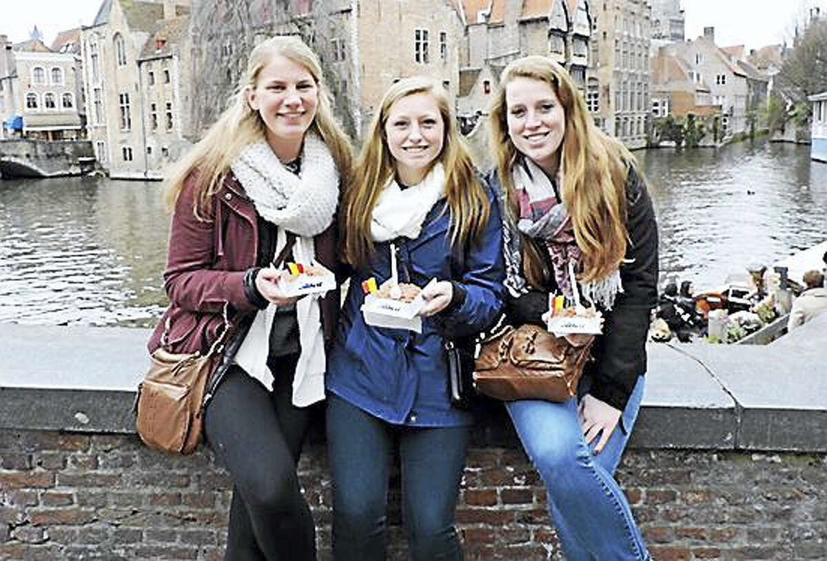 From left, Lauren Cleary, 19, of Abington, Mass., Monica Hall, 19, of Sutton, Mass., and Cate Duffy, 19, of Natick, Mass. All three students are sophomores in the occupational therapy program at Quinnipiac University. They were at the airport in Brussels Tuesday when explosions killed more than 30 people there. The university confirmed they are safe.