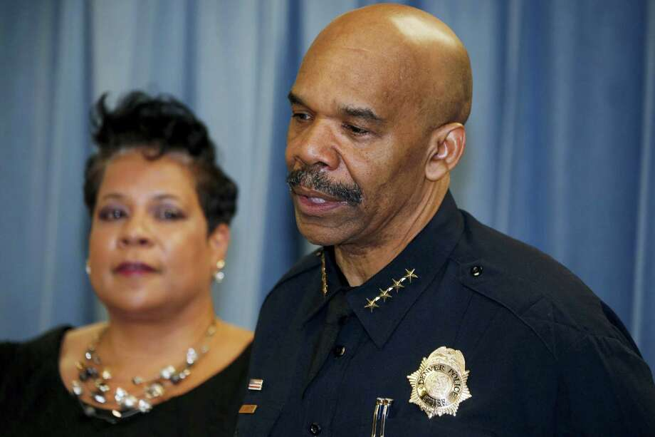 Denver Police Chief Robert White, front, talks while Stephanie O'Malley, manager of safety, looks on about a shooting and stabbing incident at a motorcycle expo during a news conference Saturday, Jan. 30, 2016, in Denver. Police say that multiple people were injured in the incident, which took place at The Colorado Motorcycle Expo. Photo: AP Photo/David Zalubowski / AP