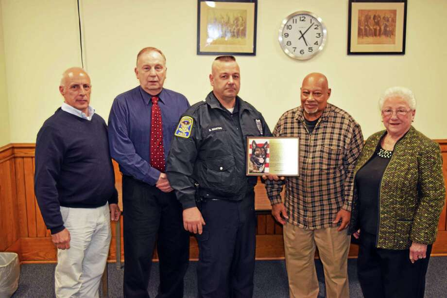 The Ansonia Board of Police Commissioners recently honored late K-9 Thor. Photo: Journal Register Co.