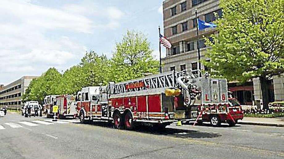 Fire truck outside the Legislative Office Building Photo: Kristi Allen — CT News Junkie