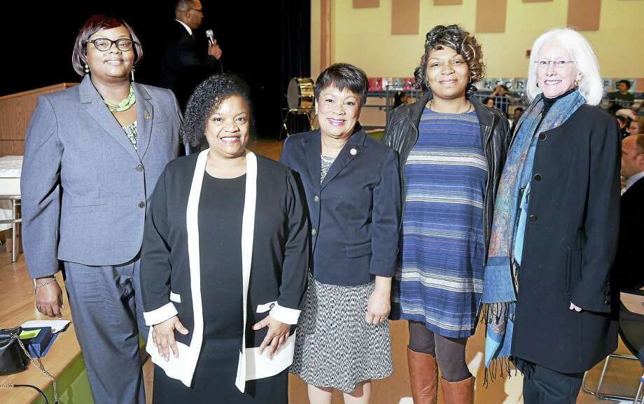 From left, Barnard Environmental Studies Magnet School Principal Yolanda Jones-Generette, with honorees at a Women's History Month program, New Haven Public Schools music teacher Harriett Alfred, New Haven Mayor Toni Harp, Board of Alders President Tyisha Walker and Yale University professor of music Marguerite Brooks. Photo: Arnold Gold — New Haven Register