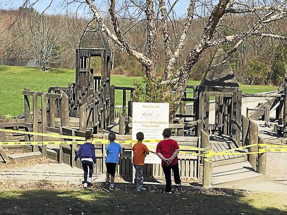 The wooden playground in Ansonia is being demolished. Photo: Contributed Photo — Ansonia Nature Center