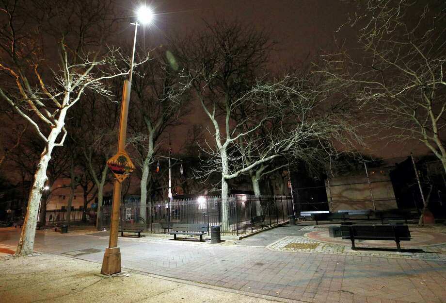 FILE- In this Jan. 14 photo, new floodlight-style lighting illuminates Osborn Playground in the Brooklyn borough of New York. Photo: Kathy Willens — The Associated Press   / AP