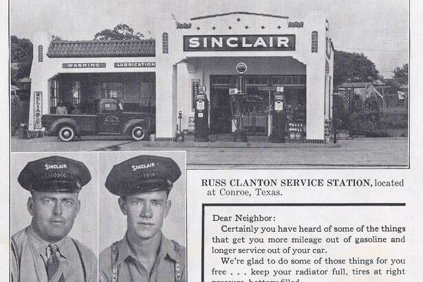 Russ Clanton ran the Magnolia Station on Frazier Street in Conroe. He was known for his generous nature and the station was a hub of activity in Conroe in the 1940s and 1950s.