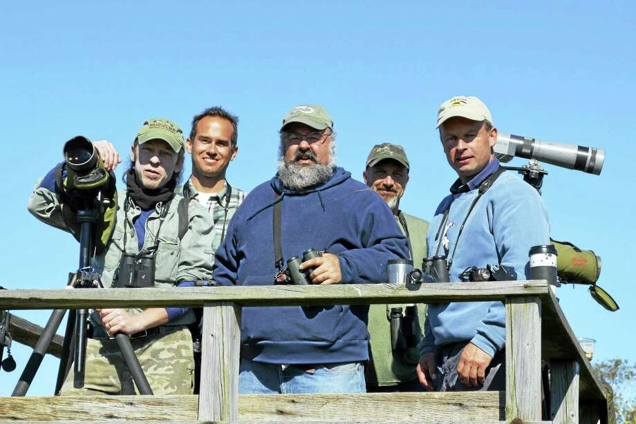Frank Gallo, center, and his Big Day team, the Raven Luna-Ticks, will be birding for 24 hours to raise funds for the Coastal Center at Milford Point. Photo: CONTRIBUTED PHOTO