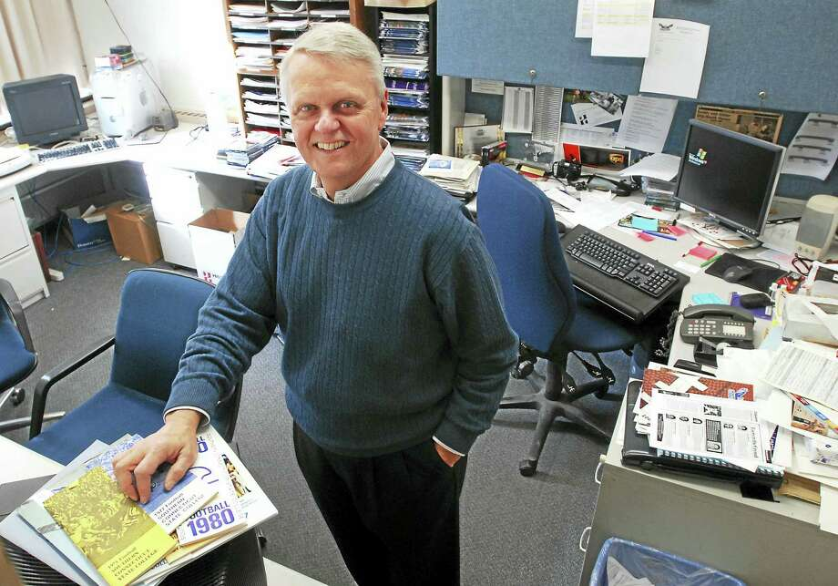 Former SCSU SID Rick Leddy in his office at Moore Fieldhouse in 2007. Photo: Mara Lavitt — Register File Photo