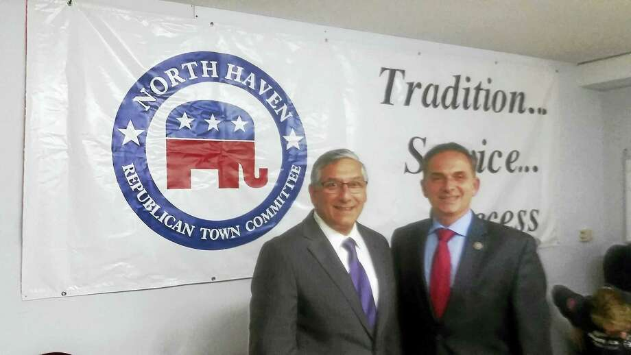 State Senate Minority Leader Len Fasano, left, and state Rep. Dave Yaccarino are seen at North Haven Republican Town Committee headquarters Tuesday night, where Yaccarino was endorsed for re-election. Photo: KATE RAMUNNI — NEW HAVEN REGISTER