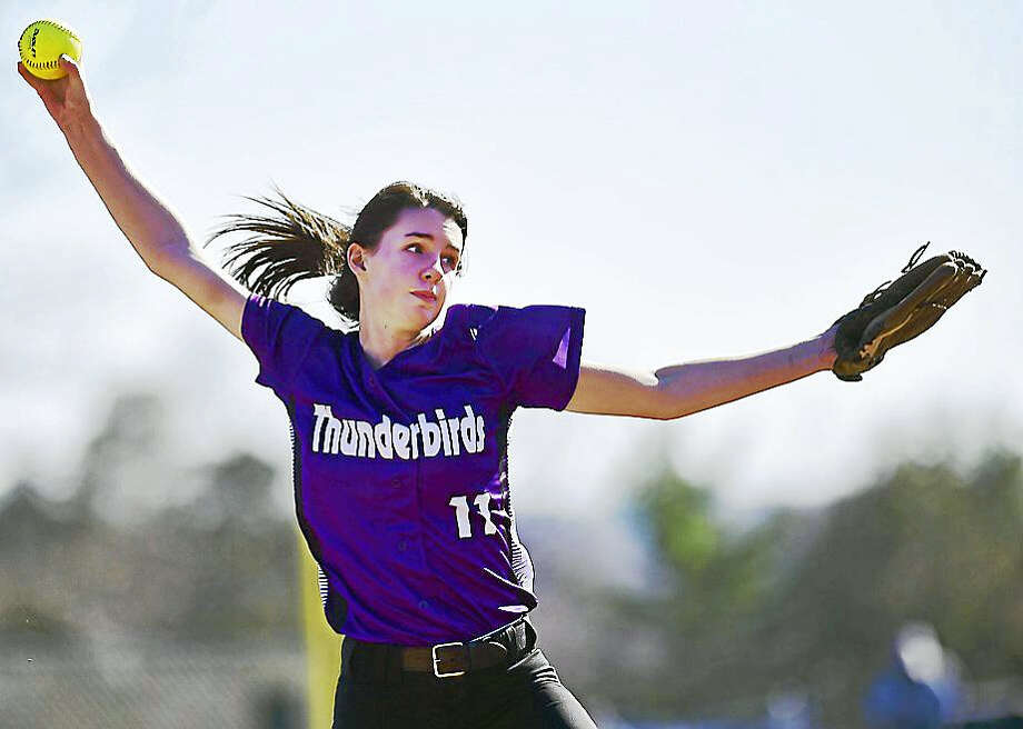 North Branford junior Julia Haeckel on the mound kast week against Sheehan as the North Branford Thunderbirds rolled to a 6-3 win in Wallingford. Photo: Catherine Avalone — New Haven Register   / New Haven RegisterThe Middletown Press
