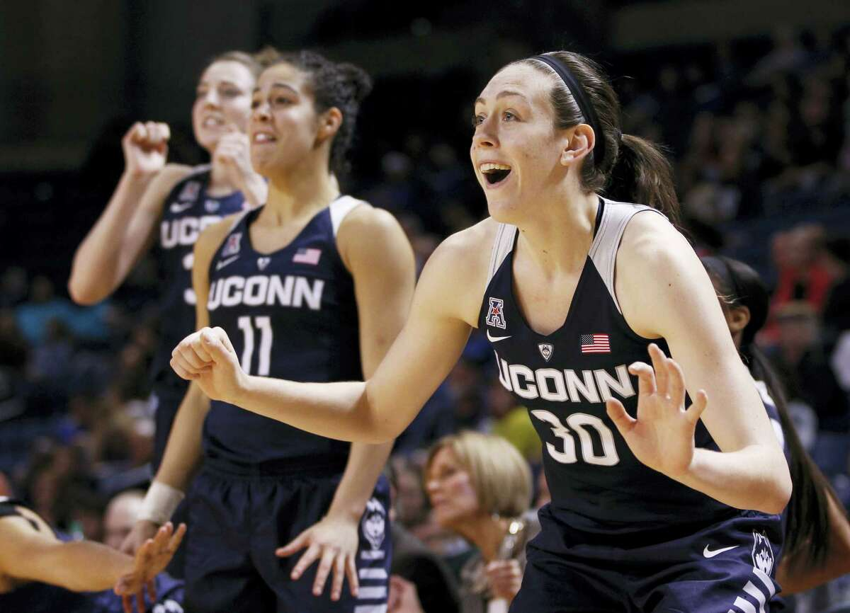 Connecticut's Breanna Stewart celebrates her team's play during the second half of an NCAA college basketball game against Tulsa in Tulsa, Okla., Wednesday, Jan. 27, 2016. Uconn won, 94-31. (AP Photo/Dave Crenshaw)