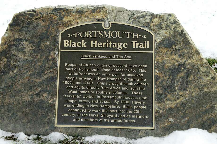In this Jan. 26, 2016 photo, a slavery port marker sits along the shore in Portsmouth, N.H.,  identifying a port where slaves arrived or where ships were sent to be used in the trade. A project aimed at bringing the little-known history of some of America's most prolific slave-trade ports to the public is moving to its next target: Rhode Island, where some 1,000 slave-trading voyages were launched. Photo: AP Photo/Elise Amendola   / AP