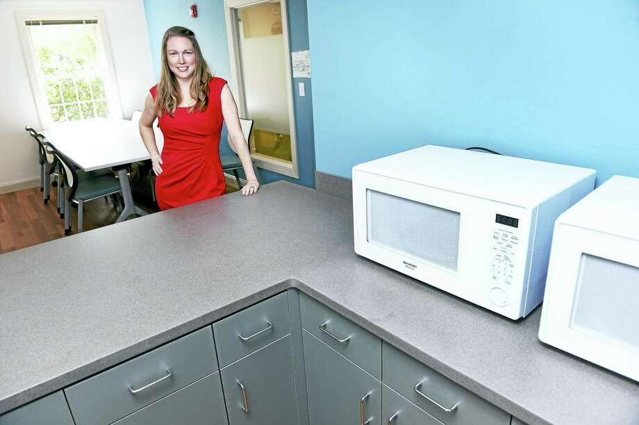 Rebekah Bardwell Doweyko, assistant vice president of clinical operations for the Connectiut region of Walden Behavioral Care, in the nourishment room at their new facility for treating eating disorders in Guilford. Photo: Arnold Gold — New Haven Register