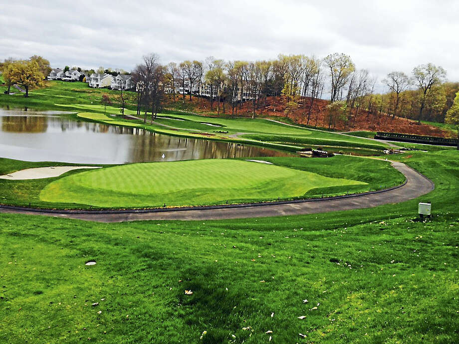 The view from behind the 16th green at TPC River Highlands. Fans will now have a leveled-down area to sit in and watch the action at the 15th, 16th and 17th holes. Photo: Joe Morelli — Register