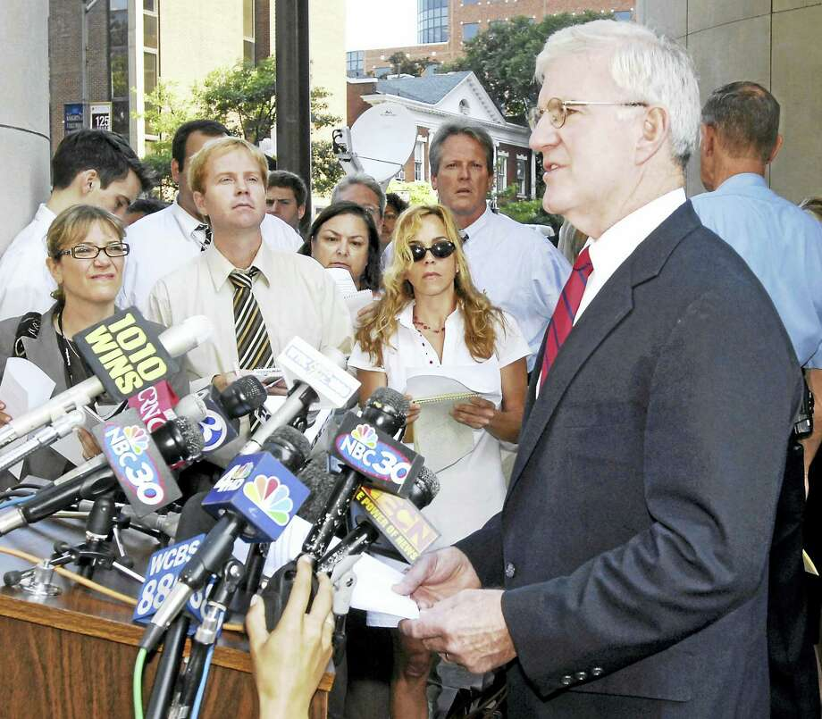 New Haven State's Attorney Michael Dearington  talks to the press in front of Superior Court in New Haven in August 2007 on the day that Joshua Komisarjevsky and Steven Hayes, the two men arrested in connection with the Cheshire triple murder, were to have a probable cause hearing scheduled. Photo: PETER HVIZDAK — NEW HAVEN REGISTER FILE PHOTO