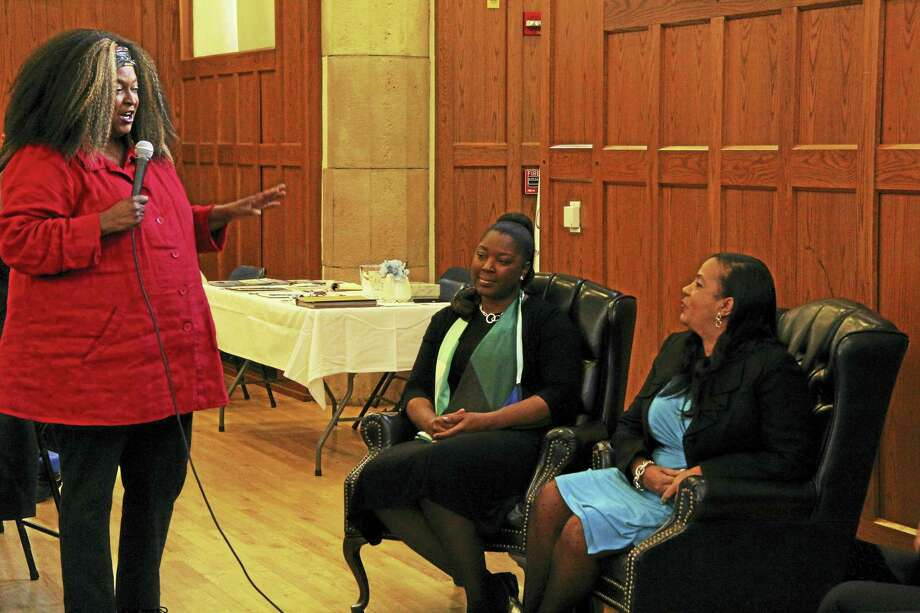 Babz Rawls Ivy (left) leads a panel discussion at a celebration of Women's History Month in New Haven Saturday. Alexandria Givan (middle) and Doris Dumas (right) participated in the panel. Photo: Anna Bisaro — New Haven Register