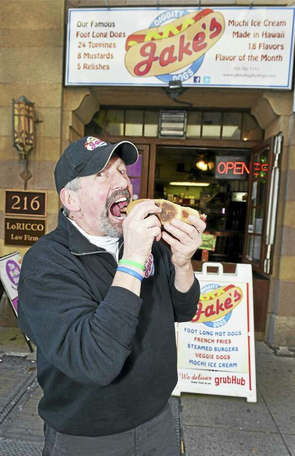 "Jeff ""Jake"" Russell, owner and operator of Jake's Diggity Dogs on Crown Street in New Haven. Photo: Peter Hvizdak — New Haven Register   / ©2016 Peter Hvizdak"