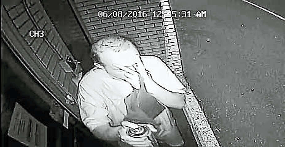 Police are looking for this man, who they say has been painting obscene graffiti on buildings in a city neighborhood. Photo: CONTRIBUTED PHOTO — New Haven Police Department