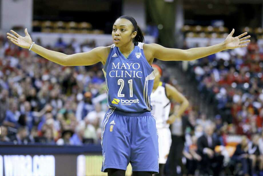 An ad for the Mayo Clinic appears on the jersey of the Minnesota Lynx's Renee Montgomery. The NBA will begin selling jersey sponsorships in 2017-18, becoming the first major North American sport to put partners' logos on players' uniforms. WNBA teams already have logos. Photo: The Associated Press File Photo   / AP
