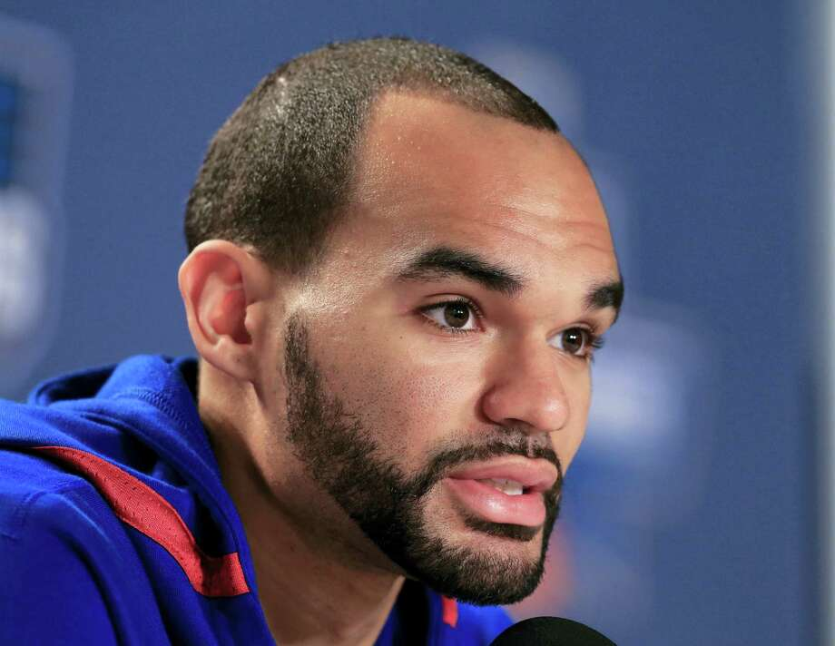 Kansas' Perry Ellis speaks during a news conference on Friday in Des Moines, Iowa. Photo: Nati Harnik — The Associated Press   / Copyright 2016 The Associated Press. All rights reserved. This material may not be published, broadcast, rewritten or redistributed without permission.