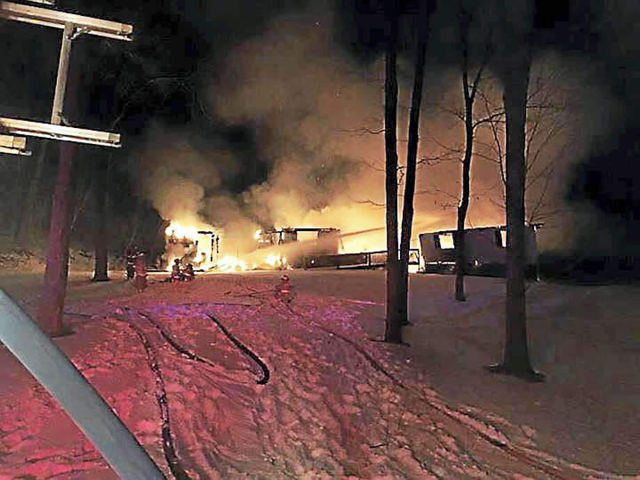 Fire crews battled a blaze on Northrop Road early Tuesday morning. No one was hurt but the home was destroyed. Photo: Courtesy Of Bethany Volunteer Fire Department