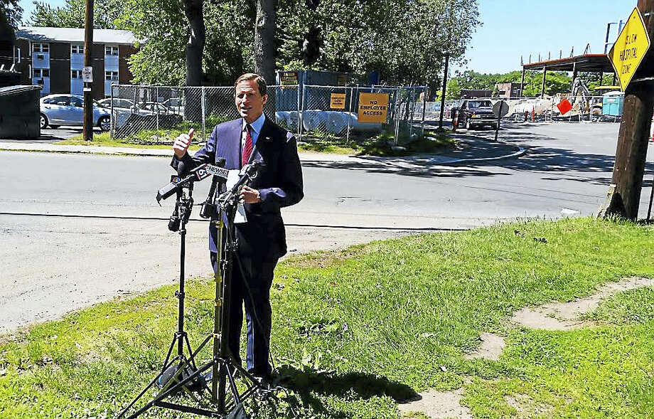 U.S. Sen. Richard Blumenthal, D-Conn., speaks at a press conference outside of the Veterans Affairs medical center hospital in West Haven Friday. Photo: KATE RAMUNNI — NEW HAVEN REGISTER