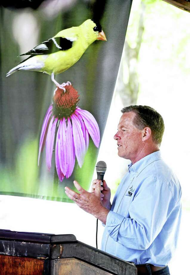 Stewart Hudson, executive director of Audubon Connecticut, moderates the Urban Bird Treaty City Recognition Program at College Woods in New Haven. Behind him is a photograph of a goldfinch. Photo: Arnold Gold — New Haven Register
