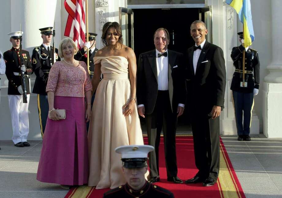 President Barack Obama and first lady Michelle Obama stand with Swedish Prime Minister Stefan Lofven and his wife Ulla Lofven as they arrive at the North Portico of the White House in Washington, Friday, May 13, 2016, for a State Dinner. Photo: AP Photo — Carolyn Kaster / Copyright 2016 The Associated Press. All rights reserved. This material may not be published, broadcast, rewritten or redistribu