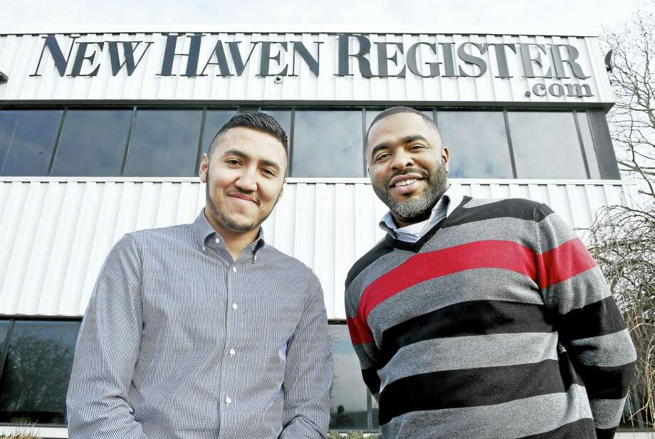 New Haven Register reporter Esteban Hernandez (left) and Community Engagement Editor Shahid Abdul-Karim in front of the New Haven Register. Photo: ARNOLD GOLD — NEW HAVEN REGISTER