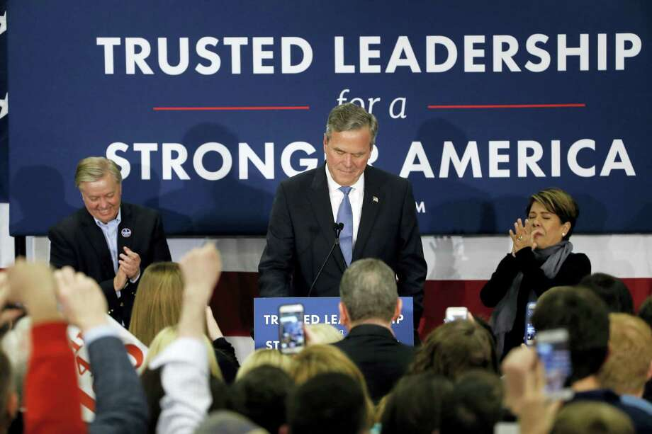 Republican presidential candidate, former Florida Gov. Jeb Bush accompanied by his wife Columba and Sen. Lindsey Graham, R-S.C., speaks at his South Carolina Republican presidential primary rally in Columbia, S.C., Saturday, Feb. 20, 2016. Photo: AP Photo/Matt Rourke / AP